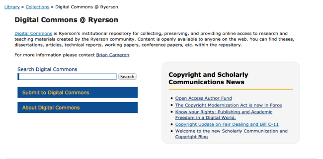 Current New Digital Commons Page