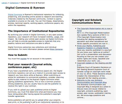 Old Digital Commons Page