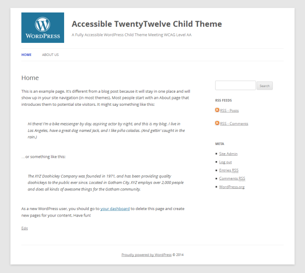 screenshot of sample page from child theme