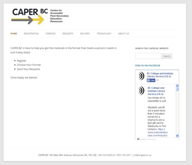 caperbc front page setup