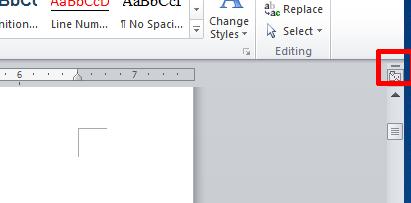 MS word split screen option