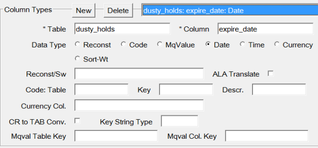 horizon mq view column type example